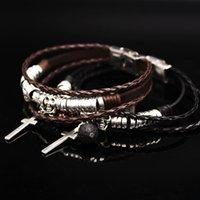 Wholesale klj776 new design fashion genuine leather bracelet High quality adjustable buckle Punk Skeleton bracelet skull bracelet