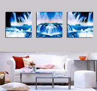 beautiful waterfall pictures - Modern Beautiful Landscape Waterfall Picture Giclee Print On Canvas Home Decor Wall Art Set30325