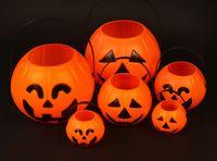 achat en gros de halloween lanterne sacs-2016 Nouveau Sourire Grande taille Visage de potiron Sucrerie Sacs Panier LED Lantern Craft Ornement Halloween Décoration Props 100pcs / lot