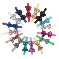 Wholesale Top Quality C Messy Sequin Bow Baby Girls Hairbands Newborn Infant Photography Bowknot Headbands