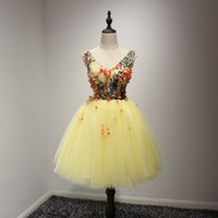 Wholesale Real Photos Cheap In Stock Homecoming Short Prom Dresses Yellow Appliques Floral Cocktail Party Gowns Sexy Sheer TOP