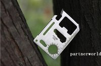 Wholesale 200PCS Stainless Steel Multi Credit Card Tools Outdoor Survival Camping Portable Pocket Wallet Tool Knife With Leather Package