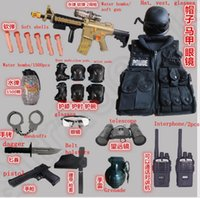 Wholesale 17 set LJJK289 Soft Bullet Water bomb gun Pistol Crystal Bullets Handcuffs telescope Tactical Vest Interphone Outdoor swat suit