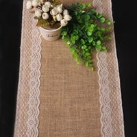Wholesale DHL Free x180cm Vintage Burlap Lace Hessian Table Runner Natural Jute Country Party Wedding adornment decoration