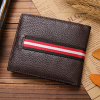 Wholesale 2016 New Men s Leather Wallet Hot Sale Two Colors Open High grade Fashionable simple Soft and Comfortable Tow Fold Leather