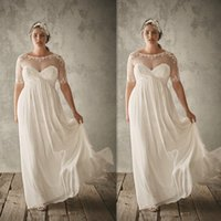 A-Line Reference Images 2016 Spring Summer Plus Size Wedding Dresses 2016 Sheer Bateau Neck Lace Appliques Cheap Bridal Gowns Chiffon Maxi Long Elegant Dress For Fat Brides