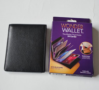 Wholesale 2016 hot New Wonder Wallet Amazing Slim RFID Wallets Black Leather Cards Casual Plain Wallets Good For Traveling With Logo Package