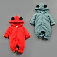 baby clothers - 2016 Winter Hooded Rompers Baby Thickening Jumpsuits Rompers Children Zipper Climb Clothers Styles M M Free DHL