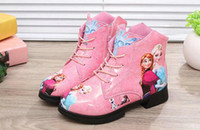 Wholesale Gril s Shoes Autumn Winter Children s Boots Forzen Pricness Cartoon Matin Boots for Kids Outerwear Size Gril Ankle Boots