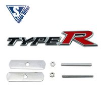 accord sticker - 3D Metal Sport power Front Hood Grill Badge Emblem stickers screws for TYPE R BLACK RED