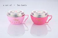Wholesale Sesl Cartoon printing home supplies Pink bowl seal Pink rainbow noodle bowl Seal preservation bowl Glass bowl