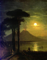 aivazovsky paintings - Ivan Constantinovich Aivazovsky The Bay of Naples at moonlit night Vesuvius Handicrafts Art oil painting High Quality Canvas in custom size