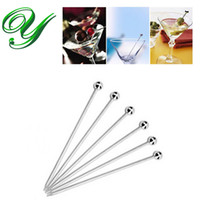 bbq party supplies - Stainless steel Martini picks skewer cocktail muddler drink stirrer fruit cake topper fork appetizer decoration party supplies bbq brochette