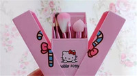 Cheap In Stock Hello Kitty 8 Jian Makeup Brush set professional Makeup tools portable storage box full set of factory outlet DHL Free