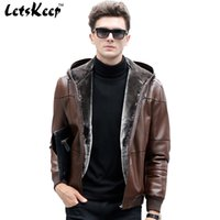 Wholesale Fall New LetsKeep Men s Winter Moto PU Leather Jacket Outdoor Casual Hooded Jackets Coat Men Luxury Thicken Warm Overcoats MA177
