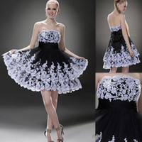 Wholesale Cheap Little Girls Bridesmaid Dresses - Short Homecoming Dress Cheap 2016 Oscar Black White Tiered Skirt Appliques Bow Strapless Elegant Sweet 16 Girl Party Wear Pageant Bridesmaid
