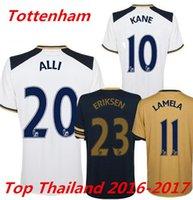 Wholesale Top Thailand Soccer Jersey son Dele Alli Kane Lamela Eriksen RD third Away Gold Yellow Jerseys