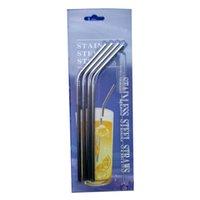 Wholesale 304 Stainless Steel Straw Metal Drinking Straw Beer Juice Straws Cleaning Brush Set Retail Packing Kit Fits Tumbler Rambler Cups
