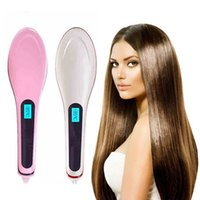 Wholesale Pink Hair Straightener Comb LCD Ion Brush Electric Hair Massager Anti Scald Tool