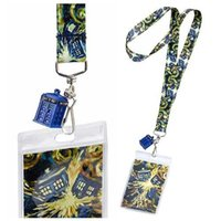 Wholesale Doctor Dr Who Van Gogh Exploding Tardis Lanyard with D Charm Same Day Shipping