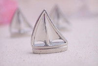 beach themed cards - Silver Sailing Boat Place Card Photo Holder Beach Themed Wedding Favors Table Number Card Holders