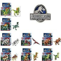 Wholesale 8 Pieces Jurassic World Park Minifigures Dinosaur Bricks Mini Figures Building Blocks Super Heroes baby toys Compatible with Lego