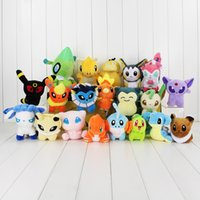 Wholesale Poke plush toys styles torchic Mewtwo Groudon Charmander eevee Pikachu cm Soft Stuffed Dolls toy New years Gift