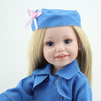 beret outfits - 18 cm Fashionable Vinyl Doll Reborn Toys for Girl In Blue Coat Outfit Beret Hat Blonde Long Hair Blue Eyes Children Gift