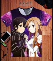 Wholesale Sword Art Online T shirt Asuna Kirito Kirigaya Kazuto SAO Cosplay Costume Anime Fashion Men T Shirt Tees New Cool Design