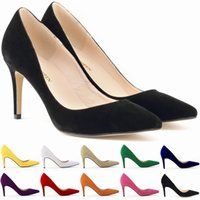 Wholesale LOSLANDIFEN Classic Sexy Pointed Toe mid High Heels Women Pumps Shoes Faux Suede Wedding Pumps Big Size Color VE