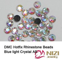 Wholesale New Arrival Sewing Garment Rhinestones Blue Light Crystal AB Color Iron On Strass Flatback Glass DMC Hotfix For Wedding Designs