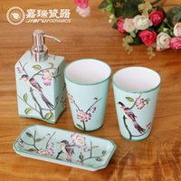 bathroom soap dispenser sets - hand painted ceramic bathroom accessories set liquid soap dispenser soap dish cups home decoration neccessory