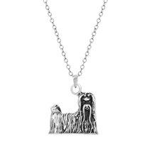 antique pearl necklace - 10pcs Antique Silver Realistic Yorkshire Terrier Necklace Fashion Pet Yorkie Puppy Dog Animal Pendant Long Necklace Women