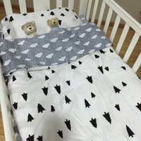 baby plat - 3cps set cotton Ins Hot baby Bedding set include pillowcase plat sheet quilt case Stripes and stars without filling