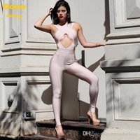 Wholesale Europe Summer Spring New Crossover Front Bandage Jumpsuits Cut Out Waistline Hot Bodysuit Sexy Bodycon Club Jumpsuits