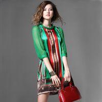 baroque dress pattern - New Summer Runway Dress Europe Fashion Baroque Style Green Half Sleeve Bow Patchwork Vintage Pattern Print Silk Dresses