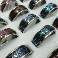 Wholesale Stainless Steel Enamel Rings For Women Men Fashion Jewelry Bulk LR350