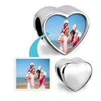 Wholesale Customized blank heart photo bead alloy Metal Slider European Charms Fit Pandora Chamilia Biagi Bracelet