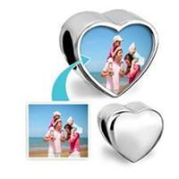 achat en gros de alliage chamilia-Customized coeur blanc alliage photo de perles métalliques Curseur Charms européennes sans photo Fit Pandora Chamilia Biagi Bracelet