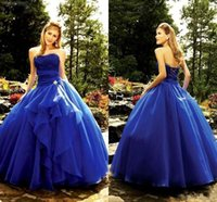 Wholesale 2017 Royal Blue Sweetheart Quinceanera Dresses Corset Back Beaded Ball Gown Princess Prom Dresses Sweet Long Pageant Dresses
