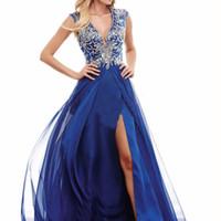 beauty woman photo - Women A Line v collar type dress royal blue chiffon beads formal evening dress female beauty dress