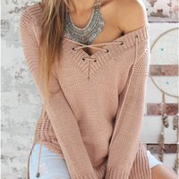 band sweaters - 2016 new women s long sleeved Pullover Sweater sweater collar band split V