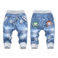 Wholesale 2016 New Y Fashion Kids Jeans Elastic Waist Straight Cartoon Jeans Denim Seventh Pants Retail Boy Jeans For boy Kids