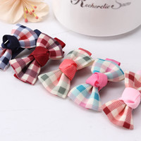Wholesale Quality ribbon bow children hairpin plaid fabric approximately cm side folder children headdress hair accessories