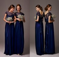 Wholesale 2017 Simple Chiffon Navy Blue Lace Bridesmaid Dresses Long A line Jewel Capped Sleeve With Ribbon Bow Cheap Bridesmaid Dresses Prom Gowns