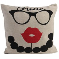 Wholesale New Cotton Pillowcase Sofa Bed Room Pillow Cases Cushion Covers cm Glasses Lips Booth