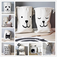 bag folding machine - Cartoon Storage Bag INS Hot Sale Laundry Bags European Style Kid Room Bear Panda Batman Washing Machine Home Canvas Pouch Pocket