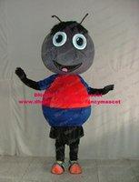 big headed ants - Clever Black Ant Pismire Insect Mascot Costume Cartoon Character Mascotte Red Blue Shirt Big Head Pink Small Tongue No FS