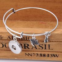 Wholesale NOOSA Alex Bangles Snap Jewellery Heart Dangle Interchangeable Ginger Snaps Button Charm Bracelet Snap Fit for mm Button J924