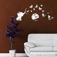 Wholesale Baby Elephant and Butterflies Art Mordern Luxury Design DIY D Crystal Mirror Wall Clock Wall Sticker Living Room Bedroom Decor